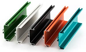 Example of metal that was powder coated - showing 5 different colors
