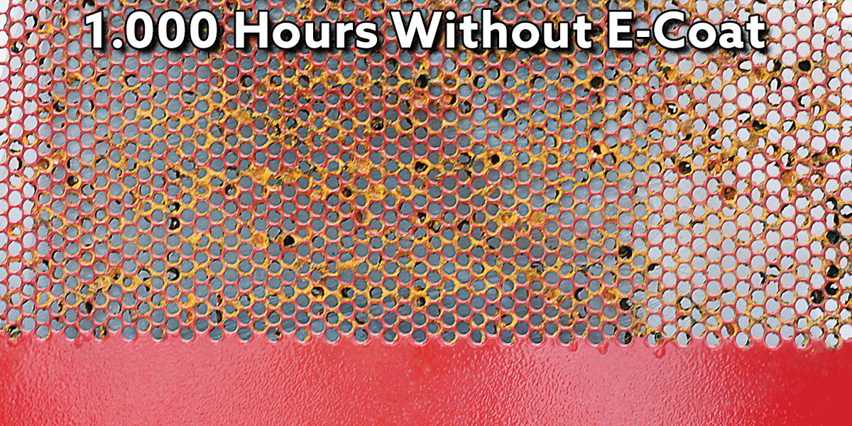 Results of 1,000 Hours of a salt spray test on perforations that wasn't e-coated