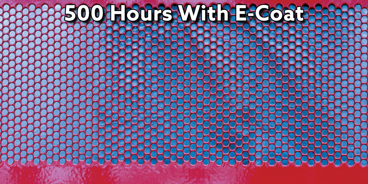 Results of 500 Hours of a salt spray test on perforations that was e-coated
