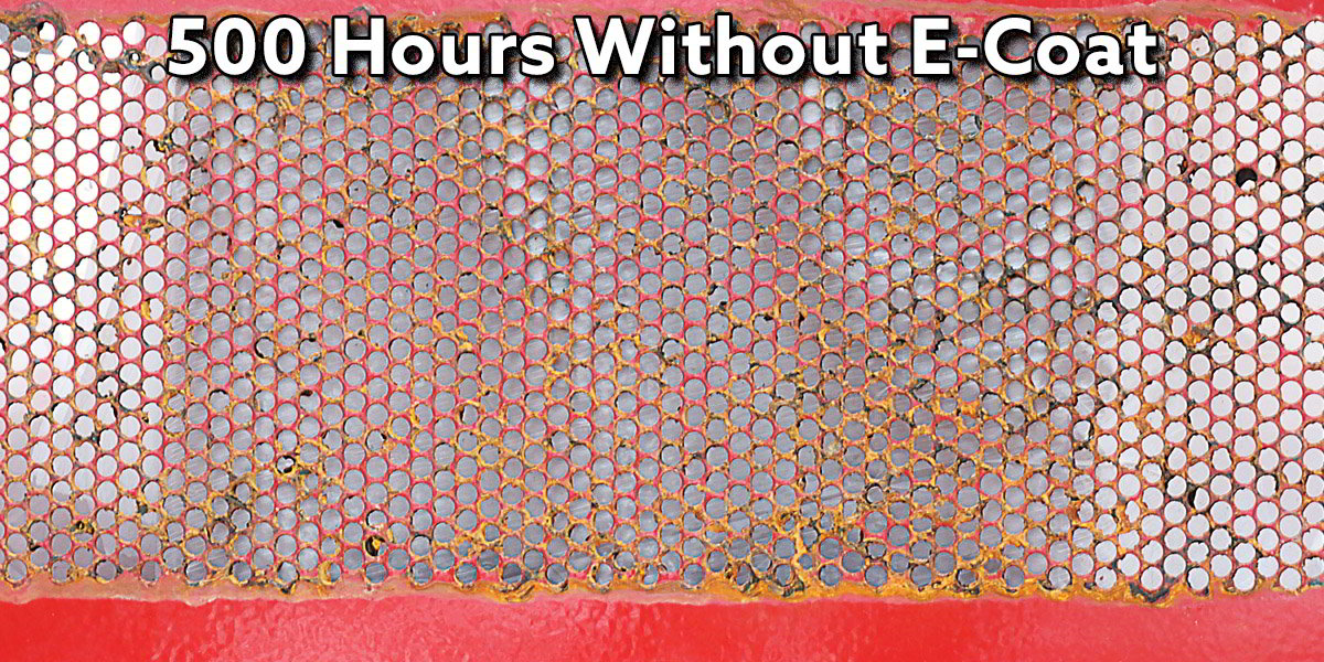 Results of 500 Hours of a salt spray test on perforations that wasn't e-coated